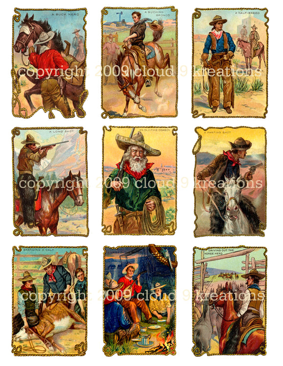 Cowboy Tobacco Trade Cards Digital Collage Sheet 1