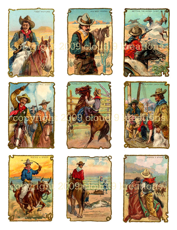 Cowboy Tobacco Trade Cards Digital Collage Sheet 2