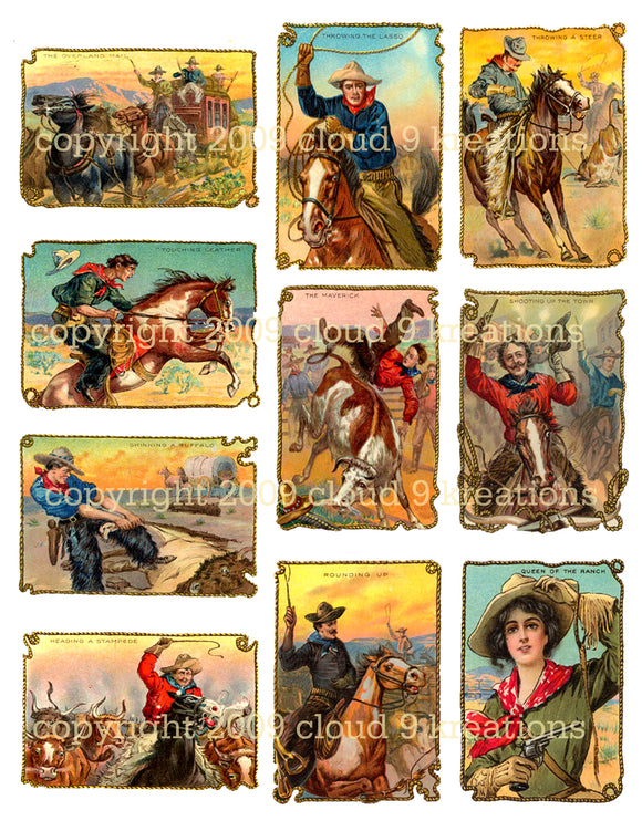 Cowboy Tobacco Trade Cards Digital Collage Sheet 3