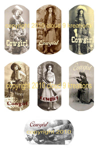 Cowgirl Dog Tags with Words Digital Collage Sheet