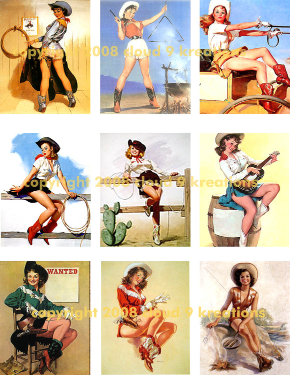 Cowgirl Pinups Digital Collage Sheet 1