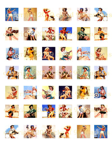 "1""x1"" Cowgirl Pinups Squares Digital Collage Sheet"
