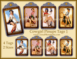 Cowgirl Pinups Gift/Hang Tags Digital Collage Sheet 1