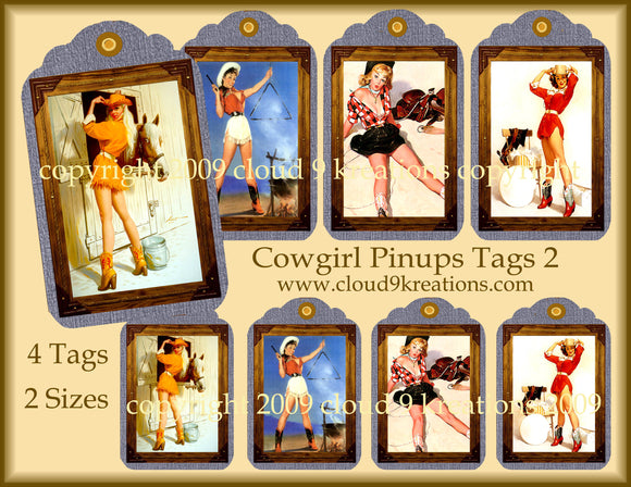 Cowgirl Pinups Gift/Hang Tags Digital Collage Sheet 2