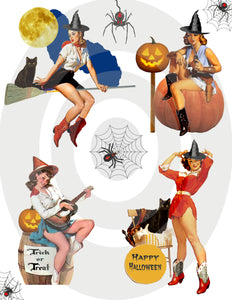 Halloween . . . Cowgirl Pinups Witches Digital Collage Sheet