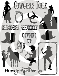 Silhouettes of Cowgirls Digital Collage Sheet