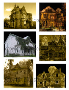 Halloween  . . . Creepy Houses Digital Collage Sheet