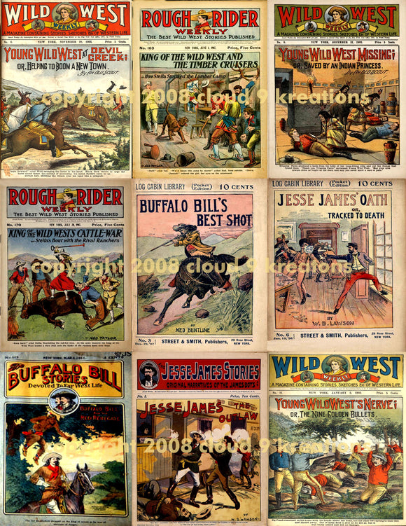 Western Dime Novel Covers Digital Collage Sheet