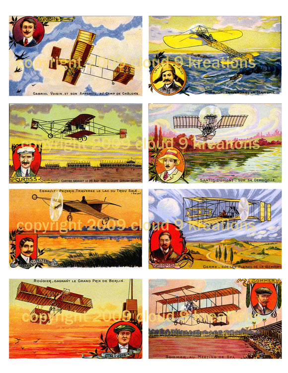 Vintage French Airplane Postcards Digital Collage Sheet 1