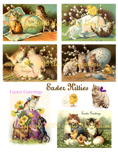 Easter Kitties Digital Collage Sheet
