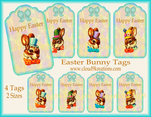 Rabbit Easter Tags Digital Collage Sheet