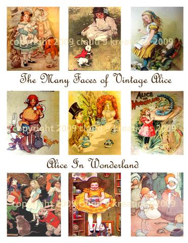 The Many Faces of Alice In Wonderland Digital Collage Sheets