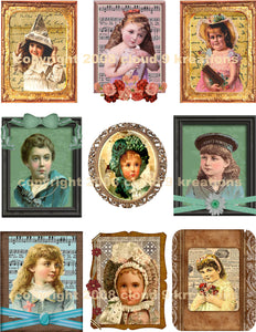 Framed Vintage Children Digital Collage Sheet