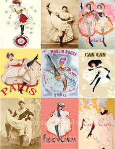 French Can Can Dancers Digital Collage Sheet