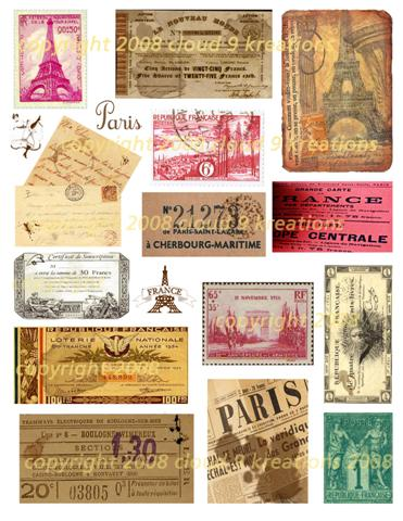 French Ephemera Digital Collage Sheet 1