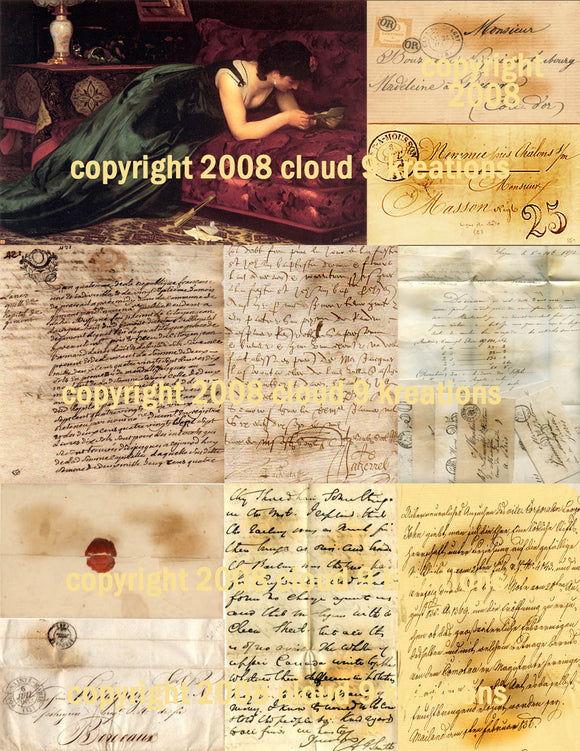 French Letters Digital Collage Sheet