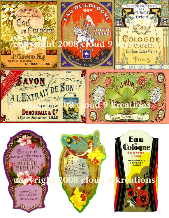 French Perfume & Soap Labels Digital Collage Sheet