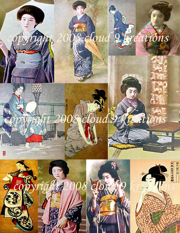 Japanese Geisha Girls Digital Collage Sheet 1