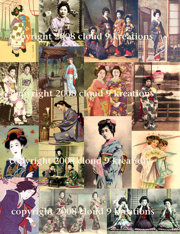 Japanese Geisha Girls Digital Collage Sheet 2