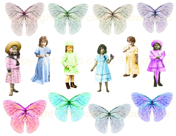 Little Girls & Butterfly Wings Digital Collage Sheet