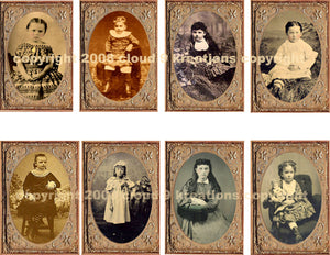 Girls Tintype Photos Digital Collage Sheet
