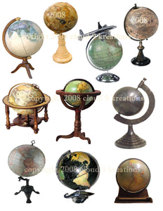 Globes Digital Collage Sheet
