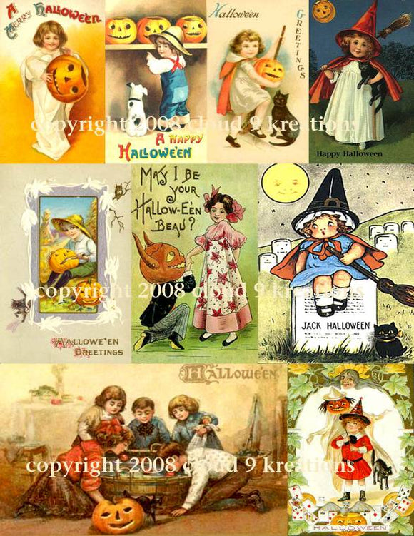 Vintage Halloween Cards Digital Collage Sheet 1