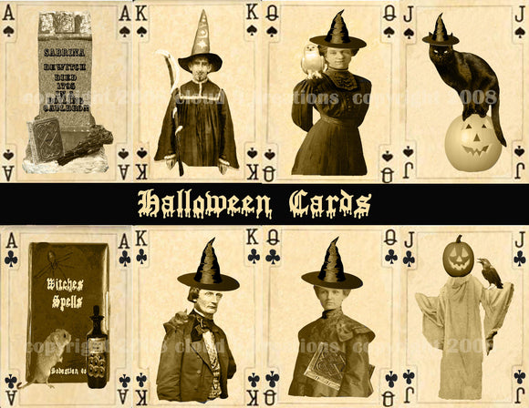 Halloween Playing Cards Digital Collage Sheet