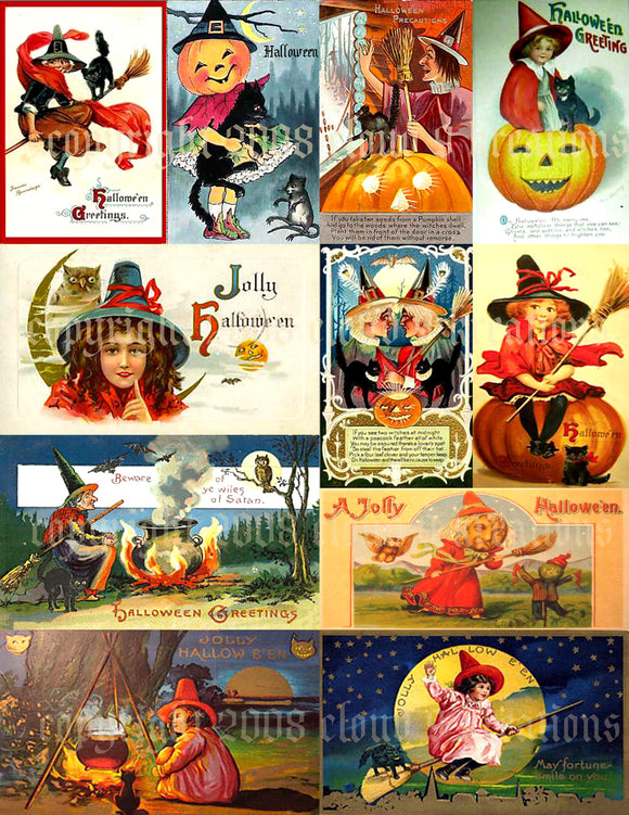 Vintage Halloween Witch Card Digital Collage Sheet 2