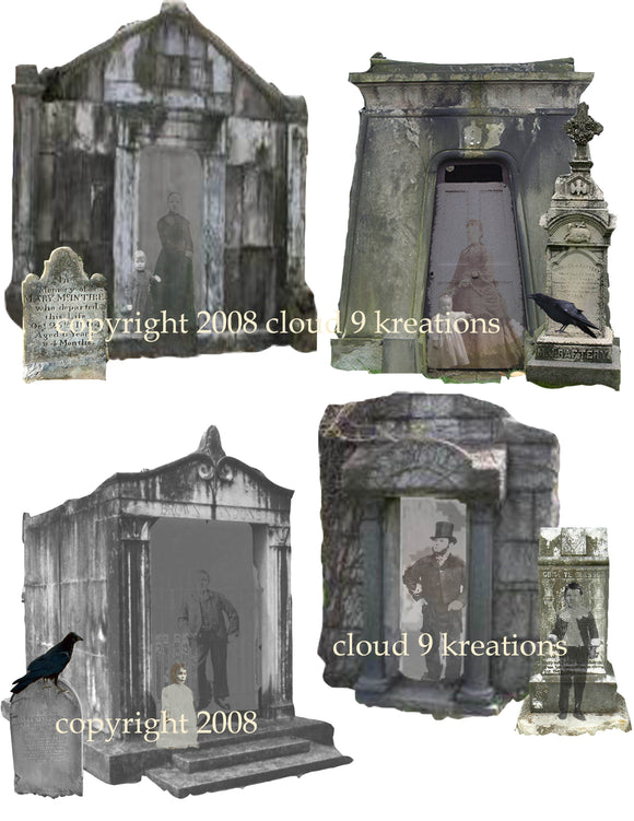 Halloween Haunted Cemetery Digital Collage Sheet