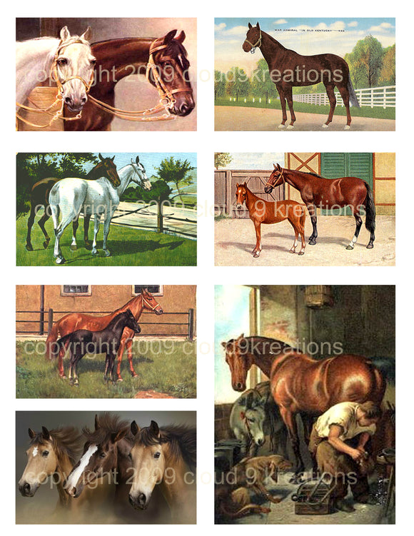 Horses Digital Collage Sheet 1