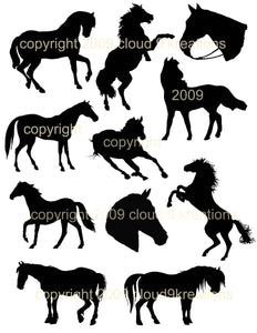 Horse Silhouettes Digital Collage Sheet