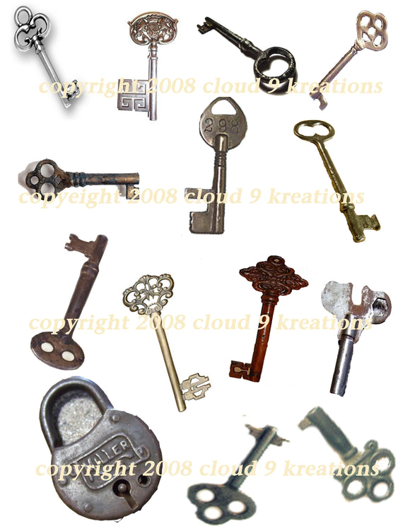 Keys Digital Collage Sheet