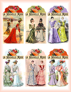 La Nouvelle Mode French Fashion Gift/Hang Tags Digital Collage Sheet