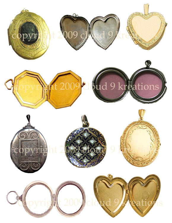 Lockets Digital Collage Sheet