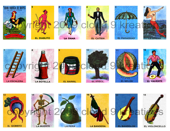 Mexican Loteria Cards Digital Collage Sheet (3 Sheets )