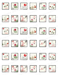"1""x1"" Love Letters Inchies/Squares Digital Collage Sheet"