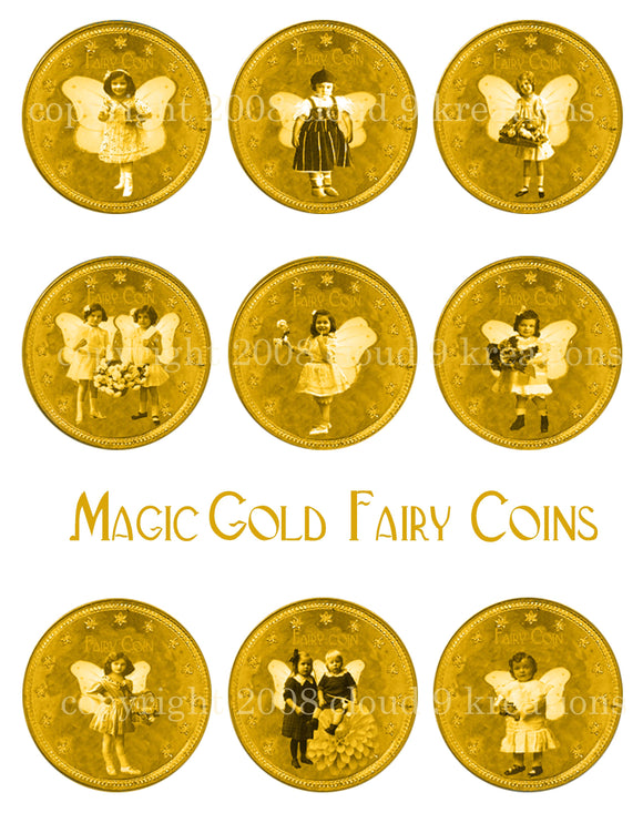 Magic Gold Fairy Coins Digital Collage Sheet