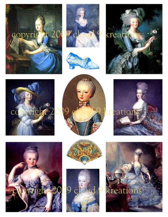 Marie Antoinette - Lady In Blue Digital Collage Sheet 3