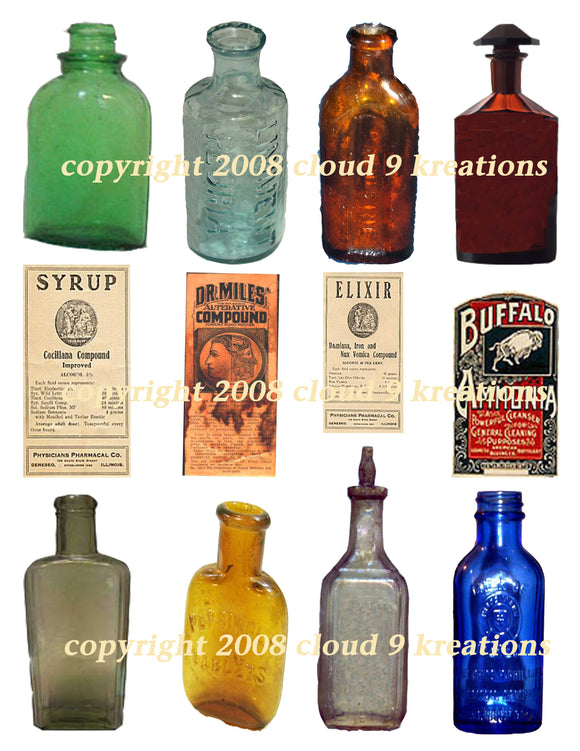 Medicine Bottles Digital Collage Sheet