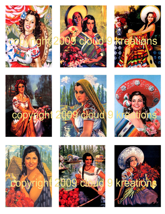 Mexican Calendar Girls Digital Collage Sheet