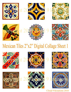 Mexican Tiles Digital Collage Sheet 1