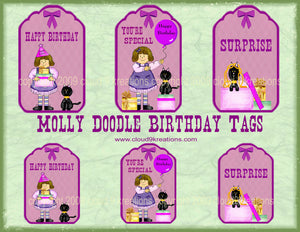 Molly Doodle Birthday Tags Digital Collage Sheet