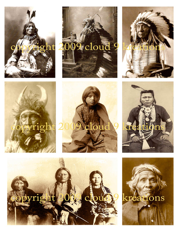 Native Americans Digital Collage Sheet