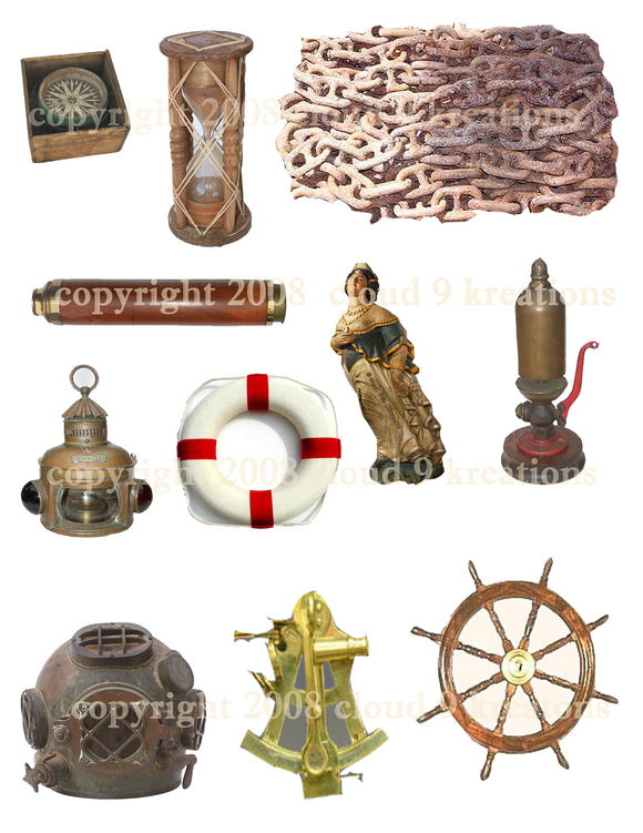 Nautical Digital Collage Sheet