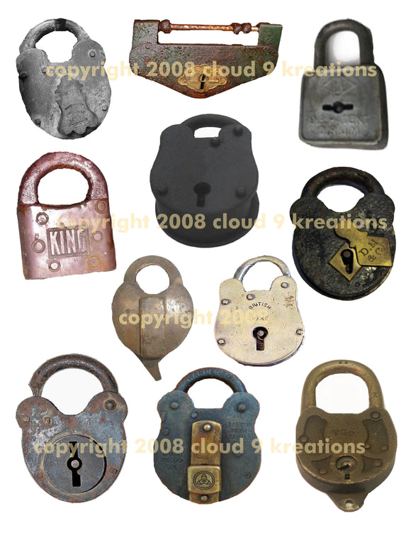 Old Locks Digital Collage Sheet