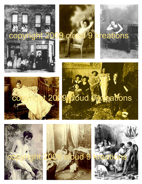 Old West Soiled Doves/Ladies of the Night/Saloon Girls/Prostitutes Digital Collage Sheet