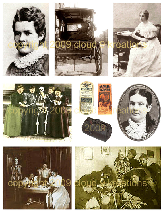 Old West Women Doctors Digital Collage Sheet