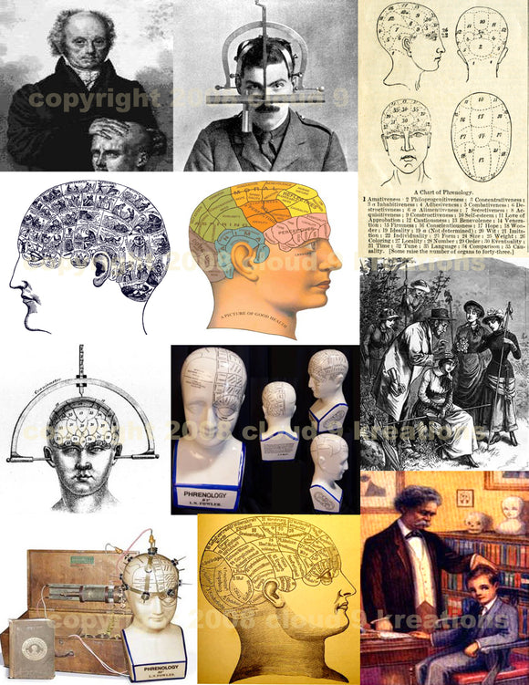 Phrenology Digital Collage Sheet