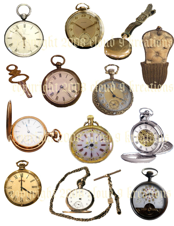 Pocket Watches Digital Collage Sheet